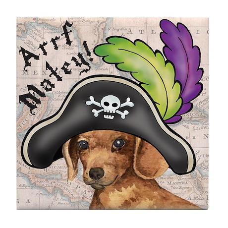 Dachshund Pirate Tile Coaster