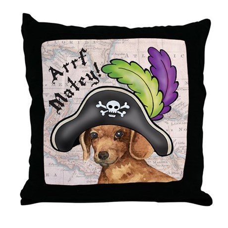 Dachshund Pirate Throw Pillow