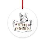 Merry Christmas Dog Round Ornament