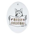 Merry Christmas Dog Oval Ornament