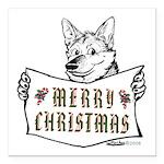 Merry Christmas Dog Square Car Magnet 3