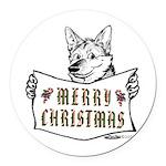 Merry Christmas Dog Round Car Magnet