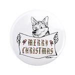 Merry Christmas Dog Button