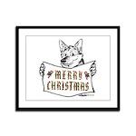 Merry Christmas Dog Framed Panel Print
