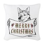 Merry Christmas Dog Woven Throw Pillow