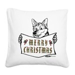 Merry Christmas Dog Square Canvas Pillow