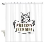 Merry Christmas Dog Shower Curtain