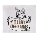 Merry Christmas Dog Throw Blanket