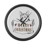 Merry Christmas Dog Large Wall Clock