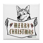 Merry Christmas Dog Tile Coaster