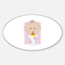 Baby Bottle Girl Oval Decal