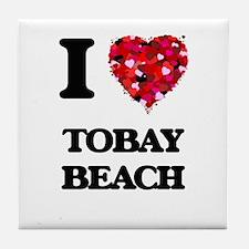 I love Tobay Beach New York Tile Coaster