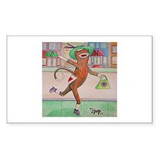 Shopping Sock Monkey Rectangle Decal