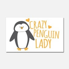 Crazy Penguin Lady Car Magnet 20 x 12