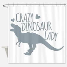 Crazy Dinosaur Lady Shower Curtain