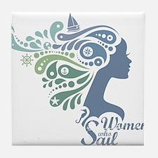 Woman Who Sail Logo Tile Coaster