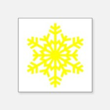 "Yellow Snowflake Square Sticker 3"" x 3"""