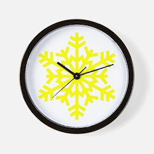Yellow Snowflake Wall Clock