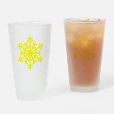 Yellow Snowflake Drinking Glass