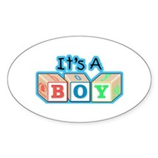 It's a Boy announcement Oval Decal