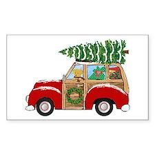Vintage Christmas Woody Wagon Decal