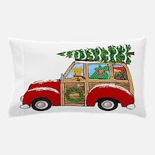 Vintage Christmas Woody Wagon Pillow Case