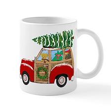 Vintage Christmas Woody Wagon Mugs