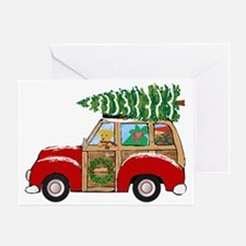 Vintage Christmas Woody Wagon Greeting Cards