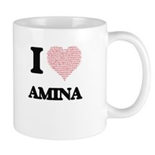 I love Amina (heart made from words) design Mugs