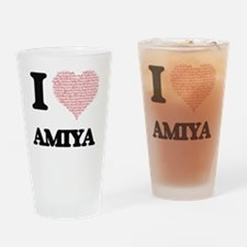 I love Amiya (heart made from words Drinking Glass