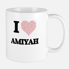 I love Amiyah (heart made from words) design Mugs