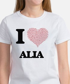 I love Alia (heart made from words) design T-Shirt
