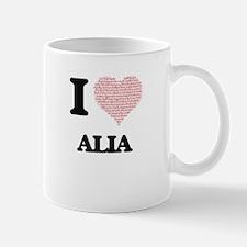 I love Alia (heart made from words) design Mugs