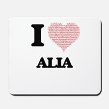I love Alia (heart made from words) desi Mousepad