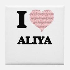 I love Aliya (heart made from words) Tile Coaster