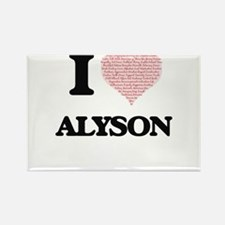 I love Alyson (heart made from words) desi Magnets