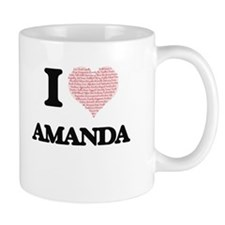 I love Amanda (heart made from words) design Mugs