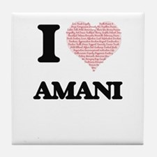 I love Amani (heart made from words) Tile Coaster