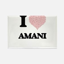 I love Amani (heart made from words) desig Magnets