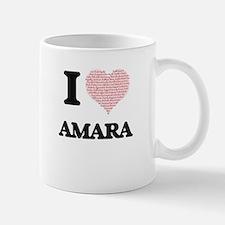 I love Amara (heart made from words) design Mugs