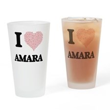 I love Amara (heart made from words Drinking Glass