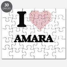 I love Amara (heart made from words) design Puzzle