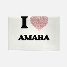 I love Amara (heart made from words) desig Magnets