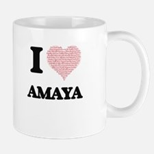 I love Amaya (heart made from words) design Mugs