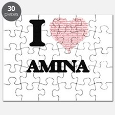 I love Amina (heart made from words) design Puzzle