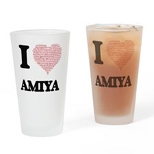 I love Amiya (heart made from words Drinking Glass