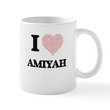 I love Amiyah (heart made from words) design Mugs
