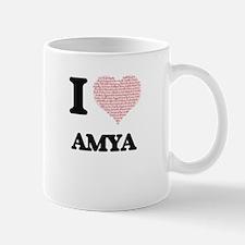 I love Amya (heart made from words) design Mugs