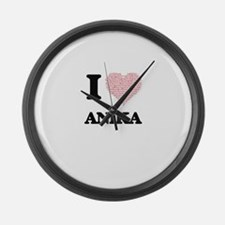 I love Anika (heart made from wor Large Wall Clock