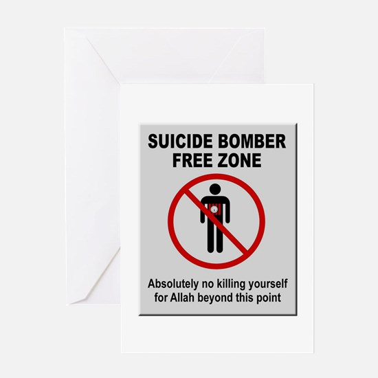 Suicide Bomber Free Zone Greeting Cards